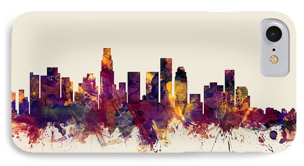 Los Angeles California Skyline IPhone 7 Case by Michael Tompsett