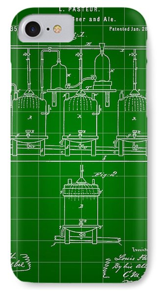 Louis Pasteur Beer Brewing Patent 1873 - Green IPhone Case by Stephen Younts