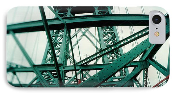 Low Angle View Of A Suspension Bridge IPhone Case by Panoramic Images