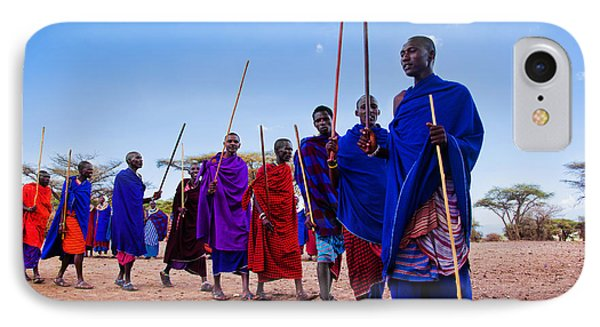 Maasai Men In Their Ritual Dance In Their Village In Tanzania IPhone Case by Michal Bednarek