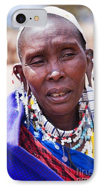 Maasai Woman Portrait In Tanzania Phone Case by Michal Bednarek