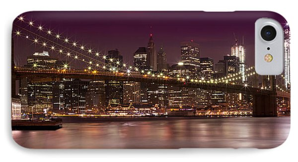 Manhattan By Night IPhone Case by Melanie Viola