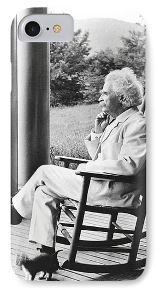 Mark Twain On A Porch Phone Case by Underwood Archives