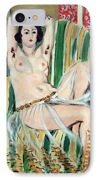Matisse's Odalisque Seated With Arms Raised In Green Striped Chair IPhone Case by Cora Wandel