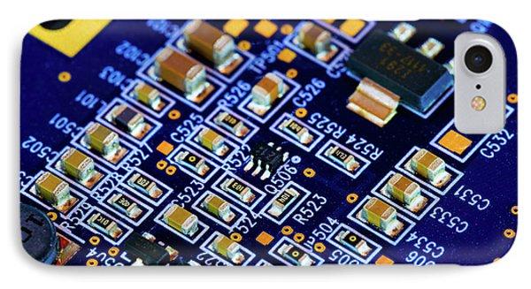 Microchip On Printed Circuit Board IPhone Case by Wladimir Bulgar