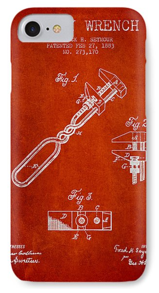 Monkey Wrench Patent Drawing From 1883 IPhone Case by Aged Pixel