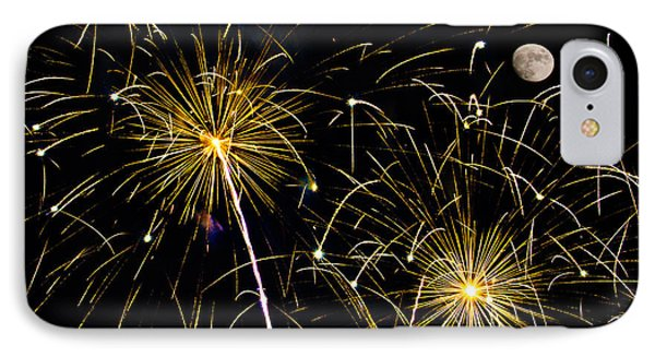 Moon Over Golden Starburst- July Fourth - Fireworks IPhone Case by Penny Lisowski