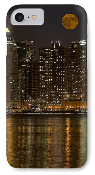 Moonrise Over Manhattan Phone Case by Susan Candelario