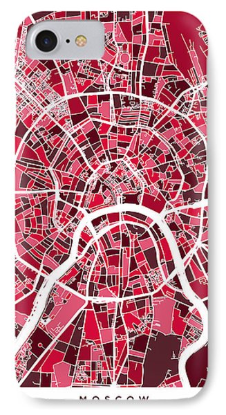 Moscow City Street Map IPhone 7 Case by Michael Tompsett