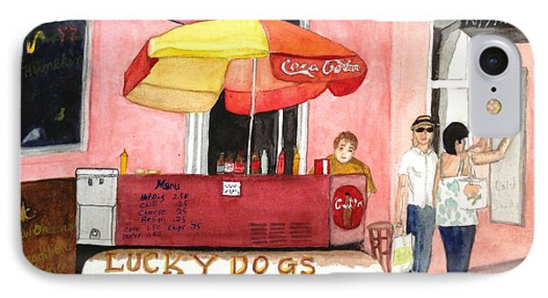 IPhone Case featuring the painting New Orleans Lucky Dogs by June Holwell