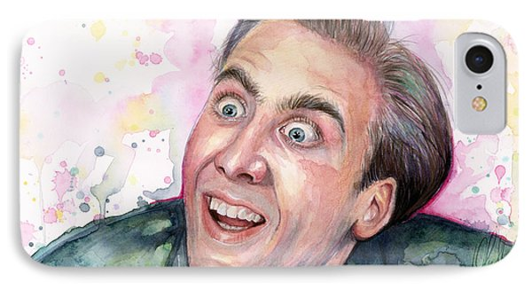 Celebrities iPhone 7 Case - Nicolas Cage You Don't Say Watercolor Portrait by Olga Shvartsur