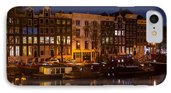 Night Lights On The Amsterdam Canals 7. Holland Phone Case by Jenny Rainbow