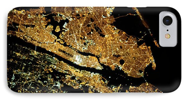Night Time Satellite Image Of New York IPhone Case