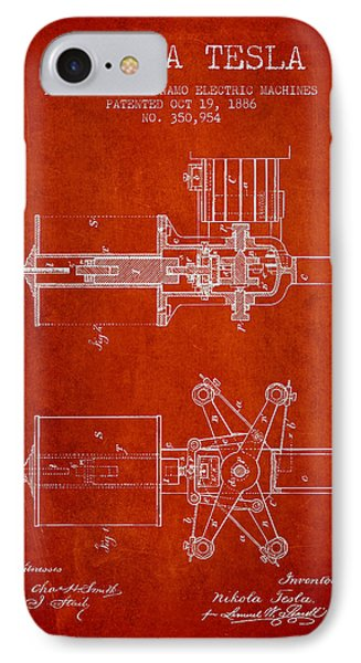 Nikola Tesla Patent Drawing From 1886 - Red IPhone Case by Aged Pixel