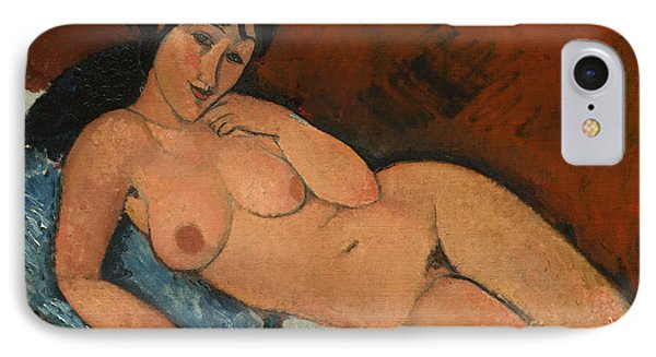 Nude On A Blue Cushion IPhone Case by Amedeo Modigliani