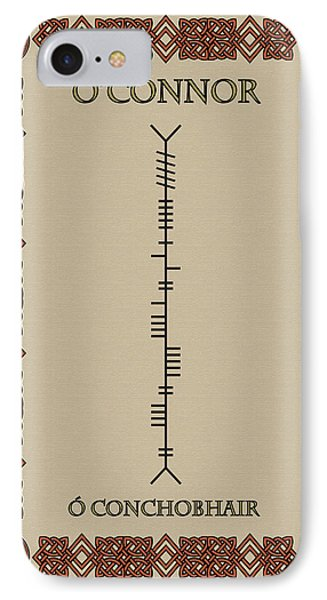IPhone Case featuring the digital art O'connor Written In Ogham by Ireland Calling