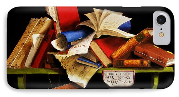 IPhone Case featuring the painting Old Books For Sale by Barry Williamson