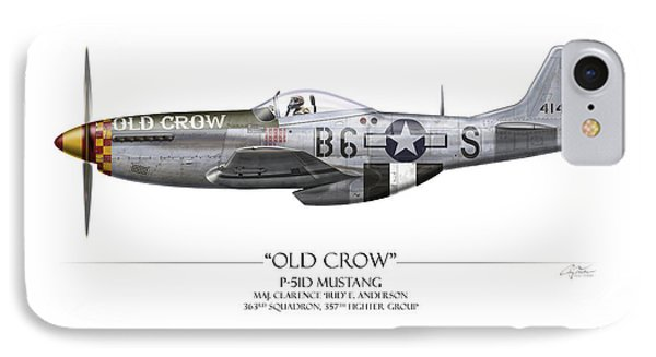 Old Crow P-51 Mustang - White Background IPhone 7 Case