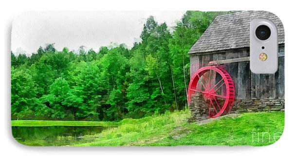 Old Grist Mill Vermont Red Water Wheel IPhone Case