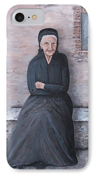 IPhone Case featuring the painting Old Woman Waiting by Judy Kirouac