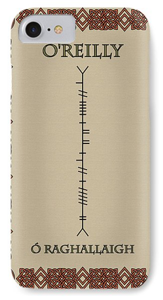 IPhone Case featuring the digital art O'reilly Written In Ogham by Ireland Calling