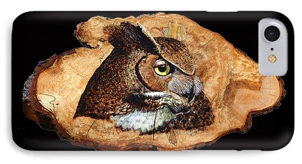 Owl On Oak Slab IPhone Case by Ron Haist