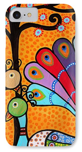 IPhone Case featuring the painting 2 Peacocks And Tree by Pristine Cartera Turkus