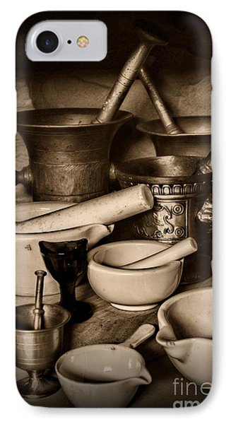 Pharmacy - Mortars And Pestles - Black And White IPhone Case by Paul Ward