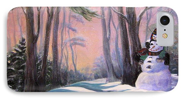IPhone Case featuring the painting Piggyback Ride In Snow by Gretchen Talmage Allen