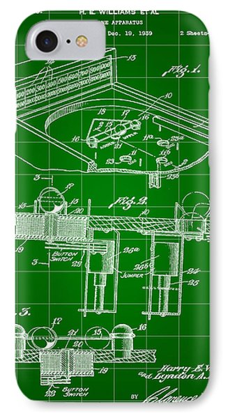 Pinball Machine Patent 1939 - Green IPhone 7 Case by Stephen Younts