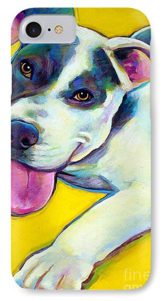 IPhone Case featuring the painting Pit Bull Puppy by Robert Phelps