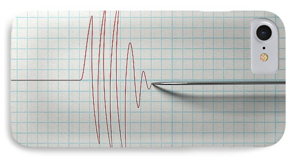 Polygraph Needle And Drawing IPhone Case by Allan Swart