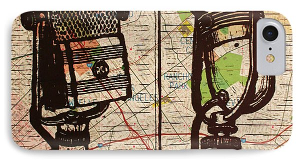 IPhone Case featuring the drawing 2 Rca Microphones by William Cauthern