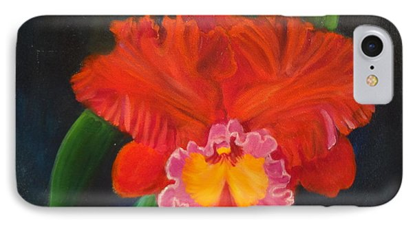 IPhone Case featuring the painting Red Orchid by Jenny Lee