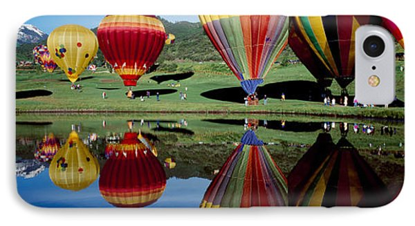 Reflection Of Hot Air Balloons IPhone Case by Panoramic Images