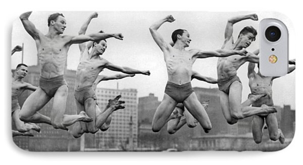 Rooftop Dancers In New York IPhone Case by Underwood Archives