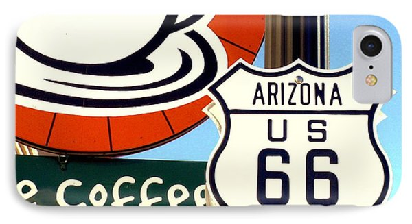 Route 66 Coffee IPhone Case by Valerie Reeves