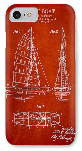 Sailboat Patent Drawing From 1938 Phone Case by Aged Pixel