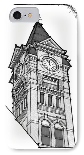 IPhone Case featuring the drawing Samford Hall Clock Tower by Calvin Durham