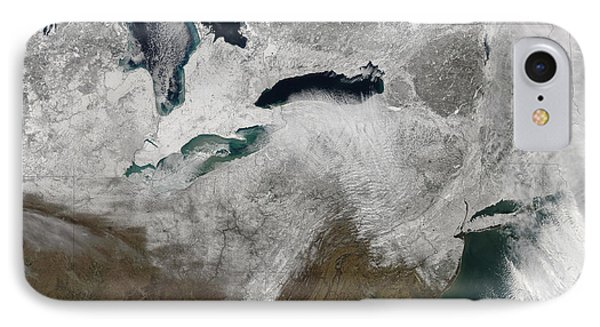 Satellite View Of A Large Noreaster IPhone Case by Stocktrek Images