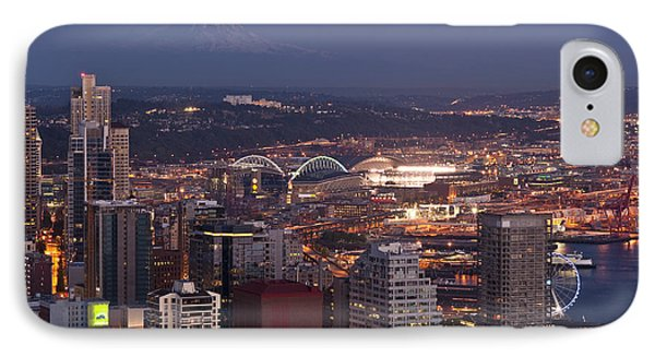 Seattle Skyline With Mount Rainier And Downtown City Lights IPhone Case