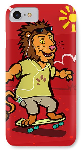 skateboarding Lion  IPhone Case by Martin Davey