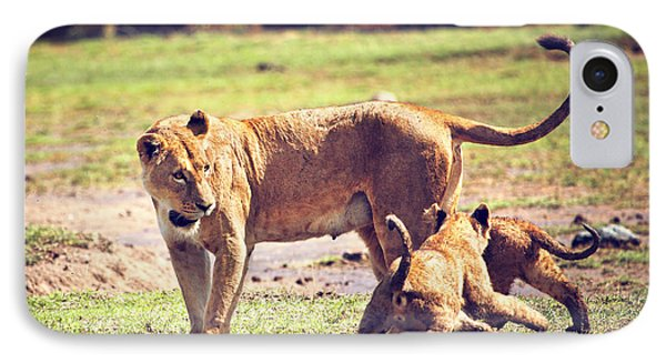 Small Lion Cubs With Mother. Tanzania Phone Case by Michal Bednarek