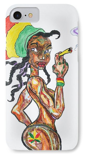 IPhone Case featuring the painting Smoking Rasta Girl by Stormm Bradshaw