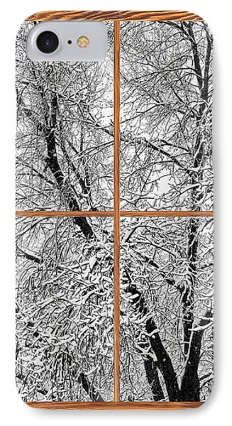 Snowy Tree Branches Barn Wood Picture Window Frame View Phone Case by James BO  Insogna