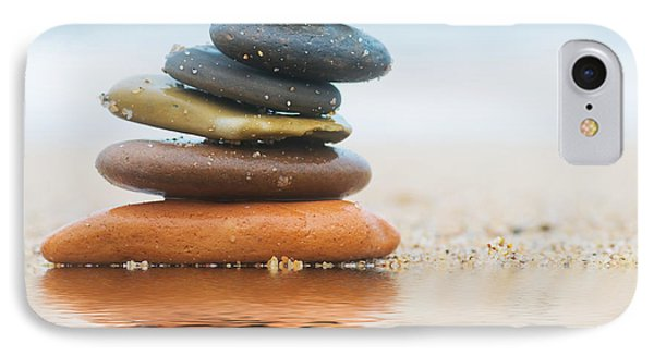 Stack Of Beach Stones On Sand Phone Case by Michal Bednarek