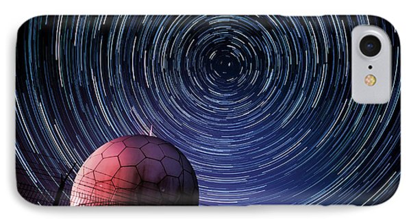 Star Trails And Radar Globe Phone Case by Eszter Kovacs