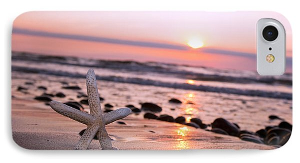 Starfish On The Beach At Sunset Phone Case by Michal Bednarek