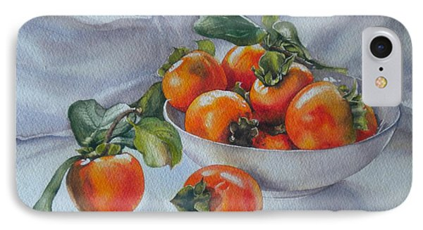 IPhone Case featuring the painting Summer Harvest  1 Persimmon Diospyros by Sandra Phryce-Jones