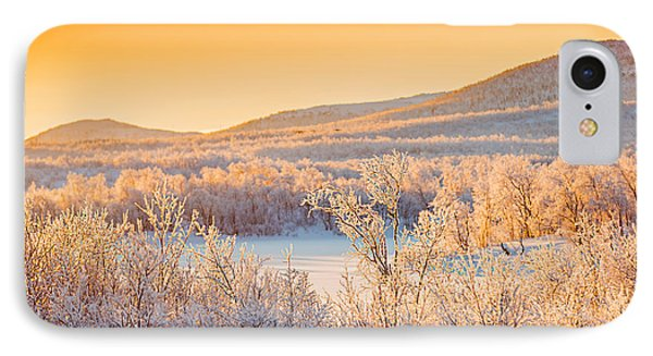Sunset And Trees In The Frozen IPhone Case by Panoramic Images